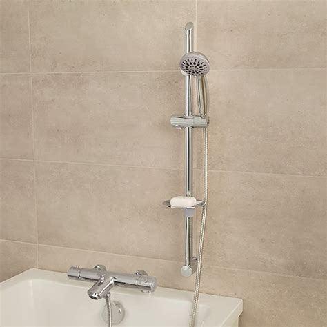 bath mixer with shower puno deluxe deck mounted bath shower mixer with rail kit
