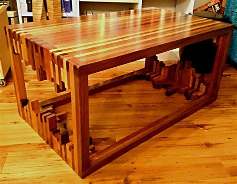 scrap wood strips coffee table   stacking wood