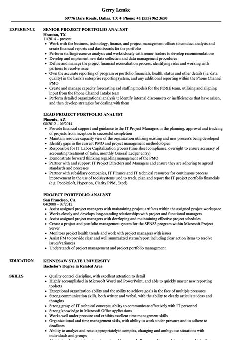project portfolio analyst resume sles velvet
