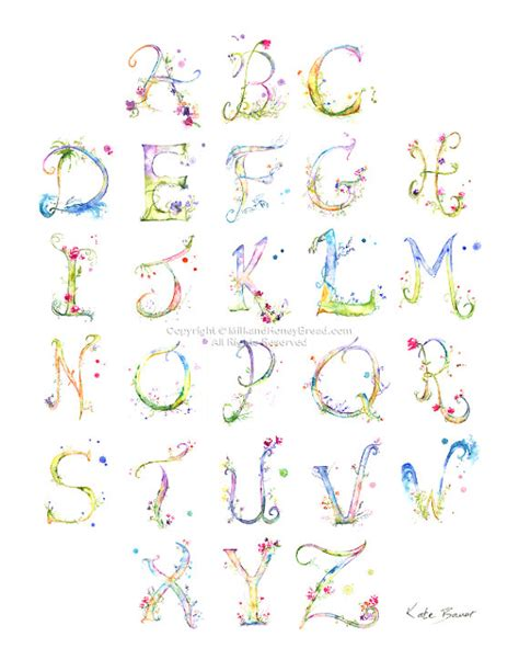 printable alphabet letters with flowers watercolor alphabet flower lettering alphabet poster print