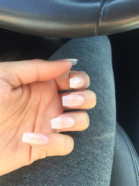 perfect natural looking coffin squoval nails with a clear