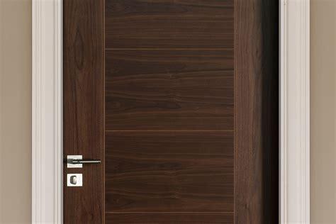 Interior Walnut Doors Modern Interior Door Custom Single Wood Veneer Solid Wood With Walnut Finish