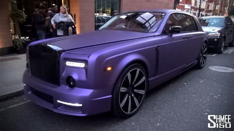 purple rolls royce purple mansory rolls royce phantom in london youtube