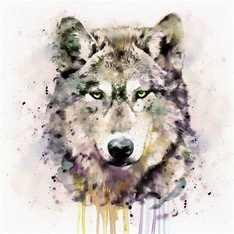 wolf head mixed media by marian voicu