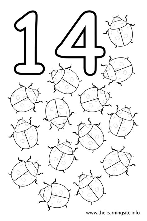 free number fourteen coloring pages