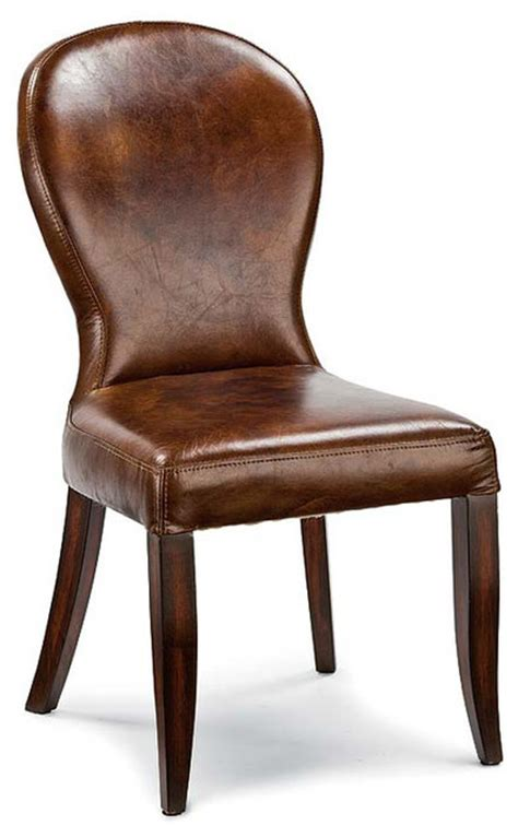 Bunyan Rustic Lodge Brown Leather Upholstered Dining Chair Rustic Leather Dining Chairs