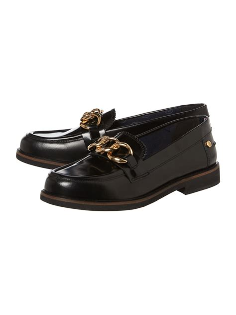 hilfiger loafer shoes hilfiger chain loafer in black lyst