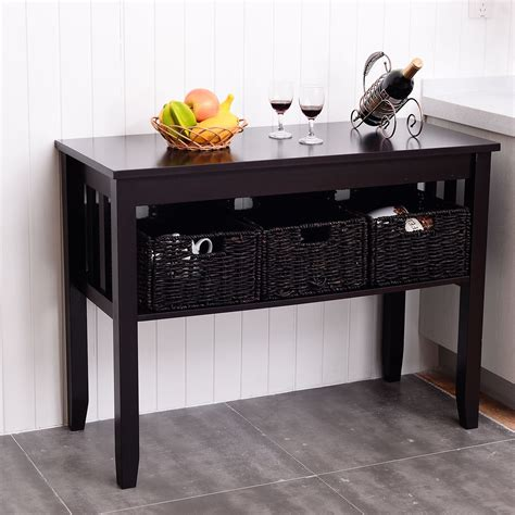 accent table with storage baskets wooden rectangular side storage table with 3 storage