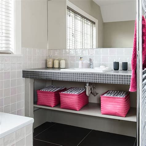 pink and grey bathroom white bathroom with pink and black accents decorating