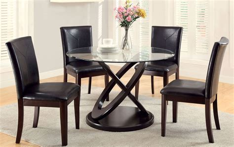 keukenhof dark walnut round pedestal dining room set atenna i dark walnut glass top round pedestal dining room