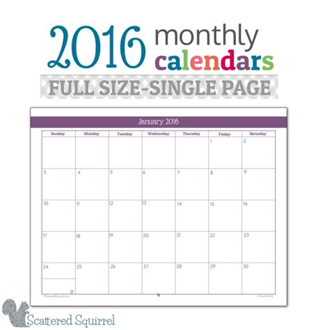 2016 Calendar By Month 2016 Monthly Calendar Printables Size Edition