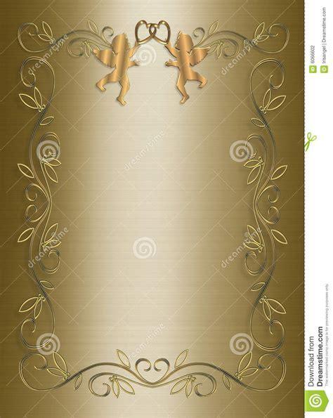 Wedding Invitation Template Gold Satin Stock Photography