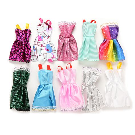 10x Kid Mini Dress Dolls Fashion Clothes Mixed Style For Pa 10pcs mixed style handmade doll dress for dress