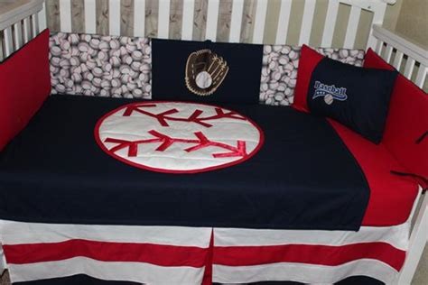 crib bedding set baseball white and blue 6 quilted