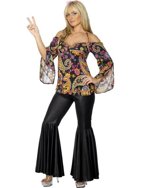 hippy flares top fancy dress 1960s 1970s womens