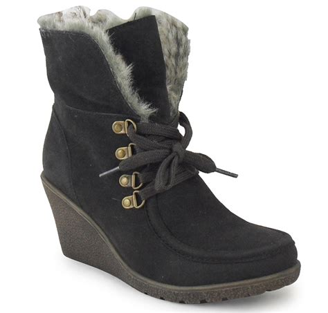 new womens brown ankle lace wedge fur office work