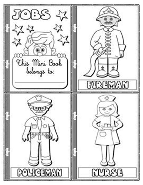 coloring pages of jobs and professions jobs and occupations colouring mini book 19 pages