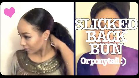wavy slicked back on black women slick back pony tail hair style protective style youtube