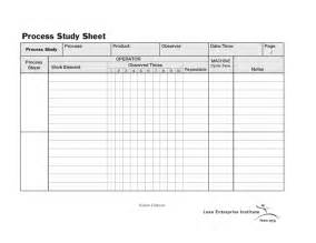 Process Study Template standard work process study sheet lean enterprise institute