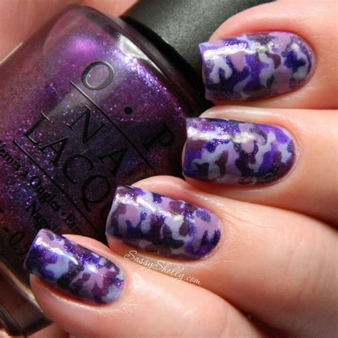 purple pattern nails purple up for military kids purple camouflage nail art