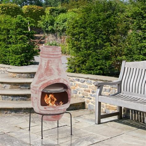 chiminea oven clay chiminea with pizza oven 75cm product photo