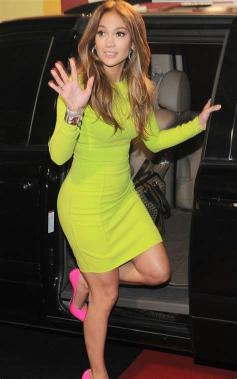 Style Jlos Dress by Style J Lo Wears Yellow Neon Dress With A