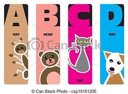 bookmarks animal alphabet u urial v stock vector 119147818 bookmarks animal alphabet a for ant b for c for