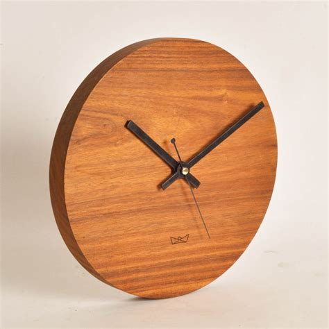 minimal handcrafted wooden clock for office workstation