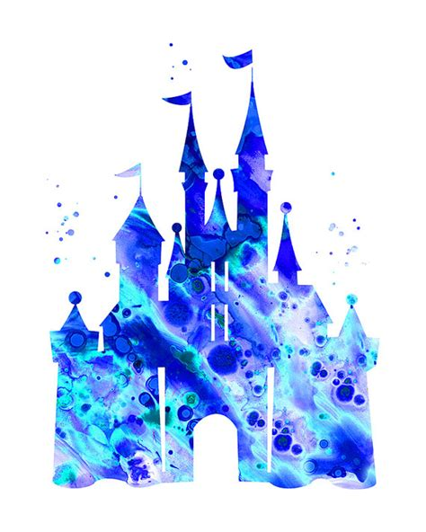 blue cinderella castle print disney castle by