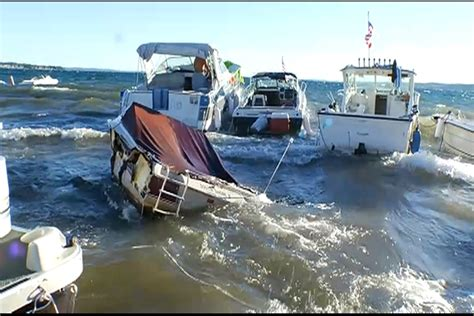 bay boats in rough water rough waters in west grand traverse bay cause problems for