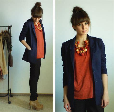 What To Wear Day Of Business School Mba by Maddy C H M Blazer Stradivarius Boots Navy Blazer