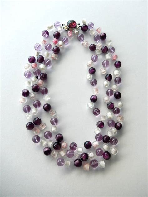 1970s langani beaded necklace in shades of amethyst at 1stdibs