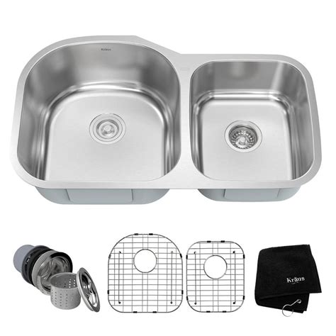 40 kitchen sink kraus undermount stainless steel 34 in 60 40 basin