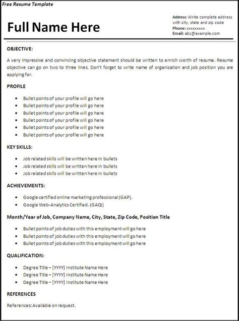 Resume Jobs Less Than A Year by Resume Templates Job Resume Template Free Word