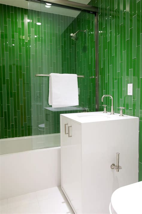 green tile bathroom ideas photos hgtv modern bathroom with vibrant green tiles