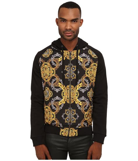 versace printed zip up hoodie in black for lyst