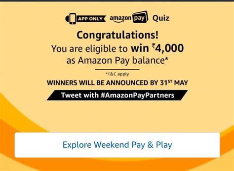 amazon quiz winner all answers amazon pay quiz win rs 5000 amazon pay balance