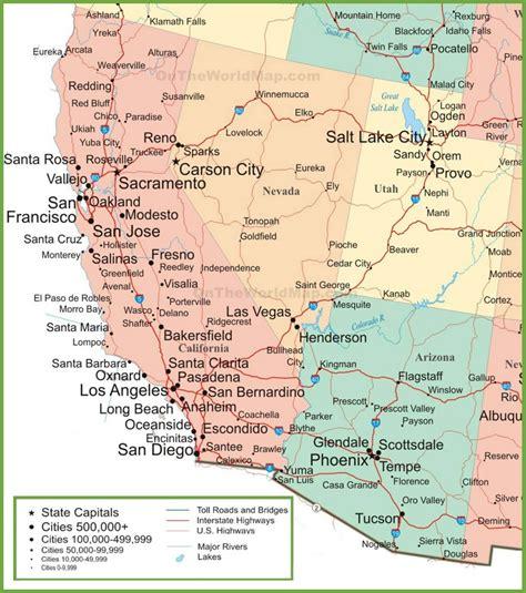 utah arizona map map of arizona california nevada and utah