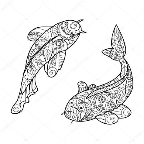 imagenes de zen koi coloriages vecteur d adultes pour des poissons de carpe