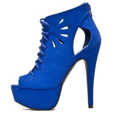 Liliana Blue 49 liliana shoes liliana royal blue peeptoe lace up