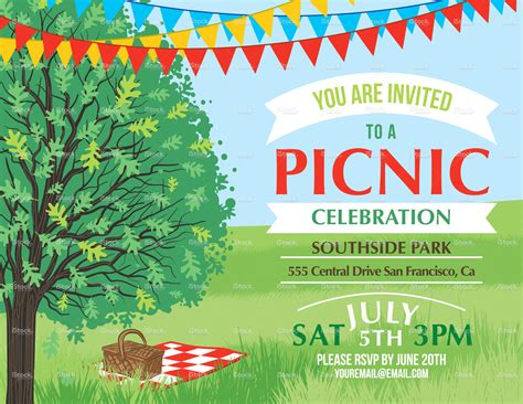 summer picnic and bbq invitation flyer or template text