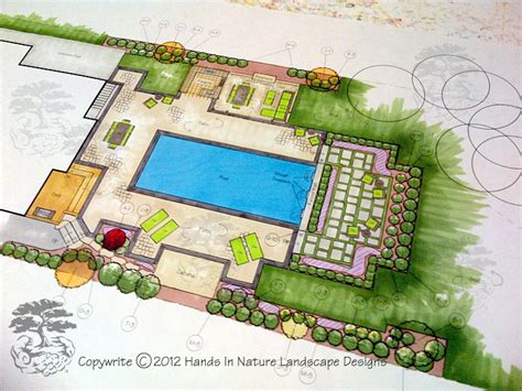 how to plan backyard landscaping landscape designer working hard on a pool landscape plan
