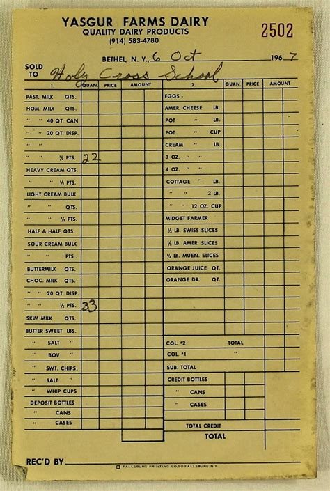 Farms Golf Receipt Template by Sports Memorabilia Auction Pristine Auction