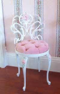 Pink Makeup Vanity Chair Vintage White Scrolly Boudoir Vanity Chair By Pinkchicboutique