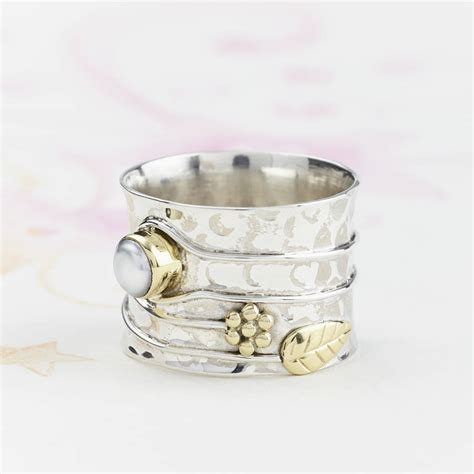 pearl silver flower ring by s web jewellery