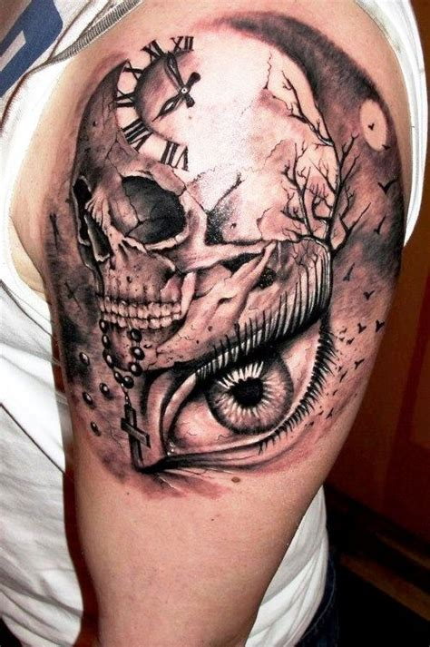 subtle tattoos for men clock skull designs of arm tattoos canvas