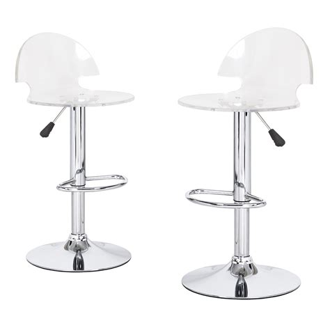 Acrylic Adjustable Bar Stools by Joveco Clear Transparent Acrylic Hydraulic Lift Adjustable