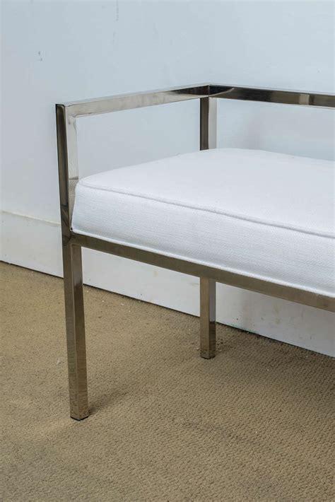 modern banquette bench mid century modern milo baughman chrome upholstered