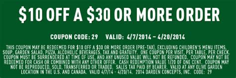 olive garden coupons in newspaper 2014 olive garden coupon 10 off 30 living rich with coupons 174