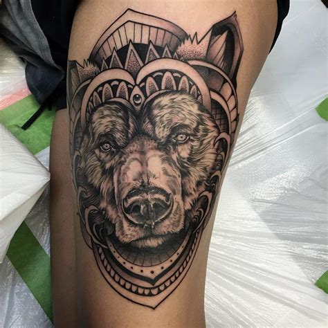 abstract geometric bear tattoo by david mushaney by david